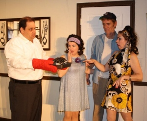 "Victoria on stage in ""The Odd Couple"""