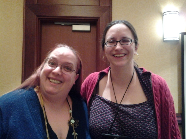 DeAnna and me at the PPWC in Colorado Springs last April. The first two pics turned out blurry, so in this one I'm holding my breath.