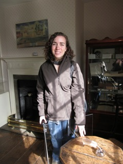 Me touching Jane Austen's desk at her house in Chawton.