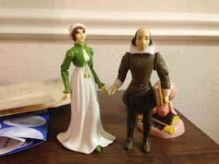Jane Austen and William Shakespeare hanging out on my desk.