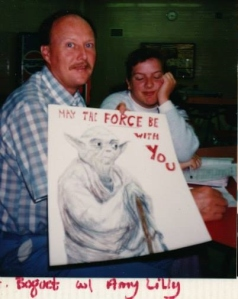 Me and my physics teacher in high school, around 1988. No idea who drew Yoda.