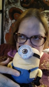 Hatching an evil plot with the help of my minion.