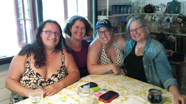 Bliss Morgan, Ilyanna Kreske, me, and Lisa Cohen last summer on Lake Champlain