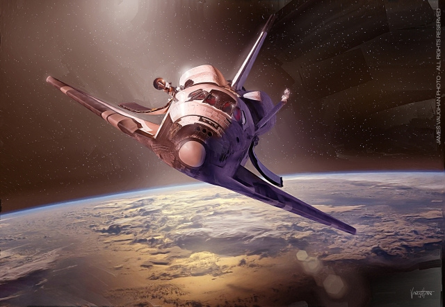 Shuttle Discovery Straight On by James Vaughan